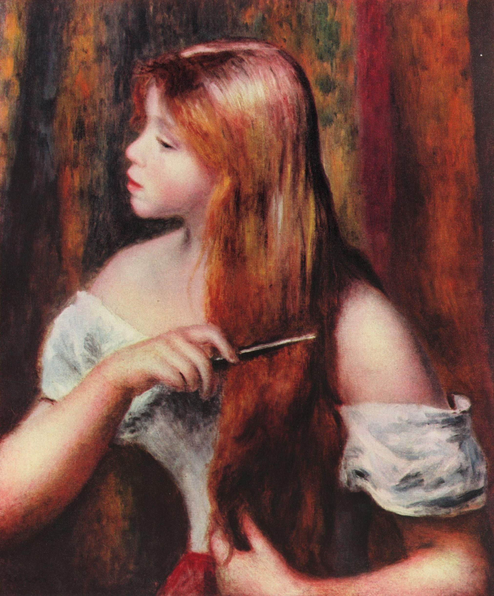 Jeune Fille coiffant ses cheveux - Pierre-Auguste Renoir