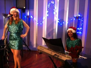With Danielle Wills, recording the video promotion of our Christmas show